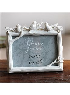 Pastoral Resin Three-Bird Design Desktop 5' Photo Frame