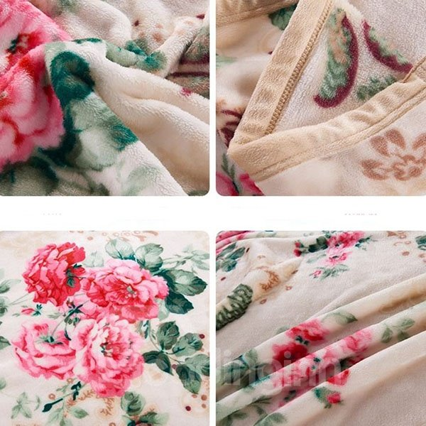 Graceful Red Peonies Printing with Beige Background Coral Fleece Blanket