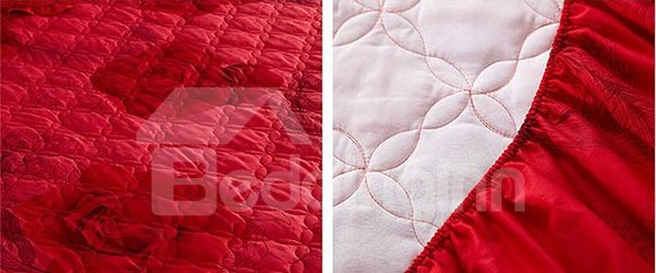 Hot Red Roses Printing Cotton Fitted Sheet