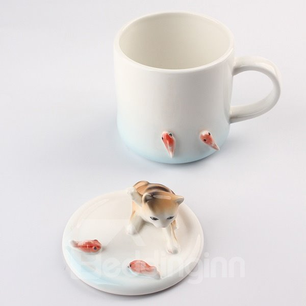 Creative Ceramic Adorable 3D Animals Coffee Cup with Lid