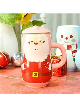 Christmas Theme Santa Claus and Snowman Ceramic Coffee Cup