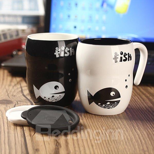 Creative Simple Fish Pattern Coffee Mug Gift Idea