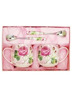 Romantic Roses Pattern 1-Pair Ceramic Coffee Mug Sets Gift Ideas