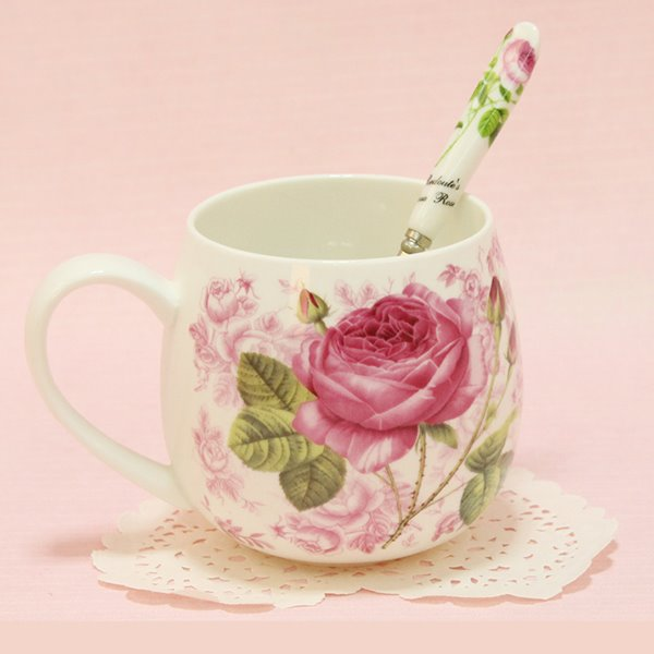 romantic roses pattern 1pair ceramic coffee mug sets gift ideas