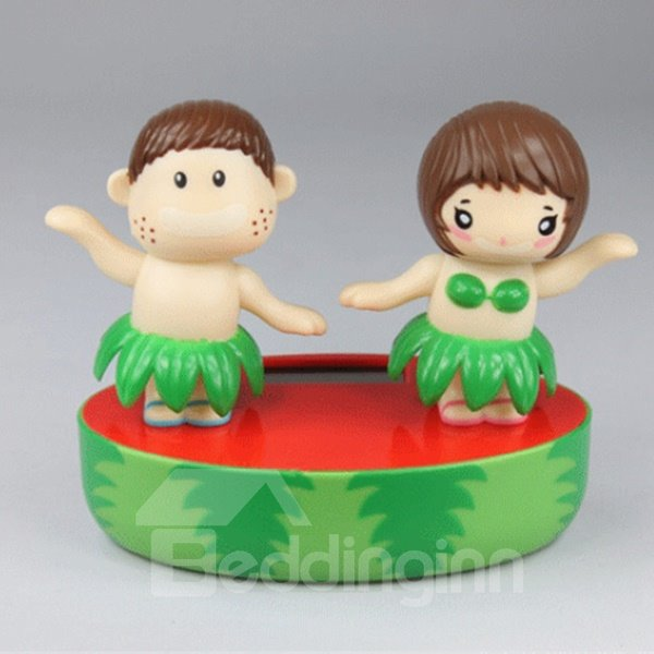 Creative Solar Powered Hawaiian Dance Couple Car Decor