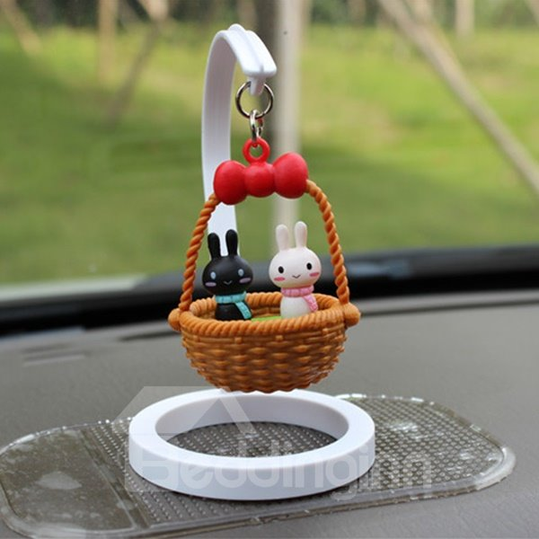 Creative Rabit In Basket Cartoon Stand Car Decor