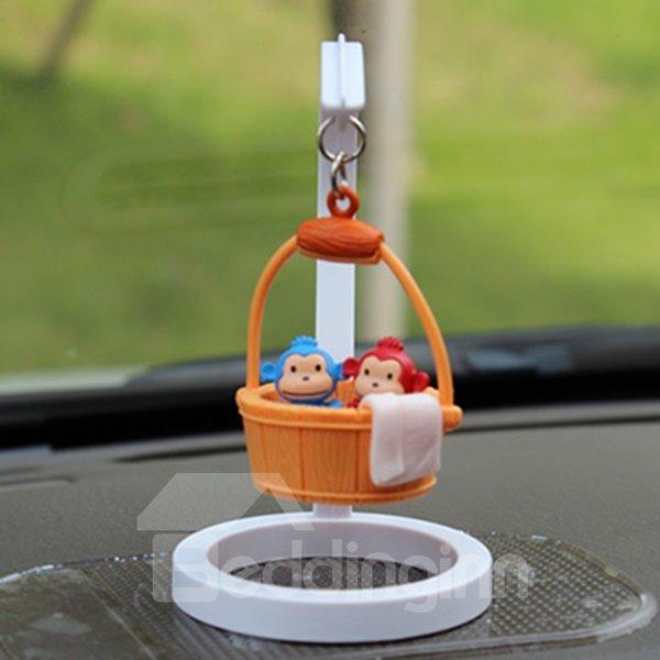 Creative Monkey In Bucket Cartoon Stand Car Decor