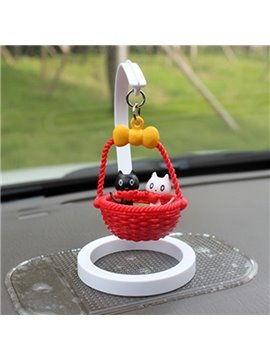 Creative Kittens In Basket Cartoon Stand Car Decor