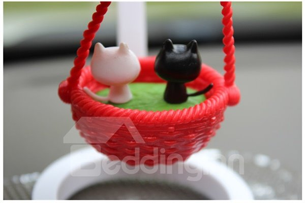 Creative Kittens In Basket Cartoon Stand Car Decor