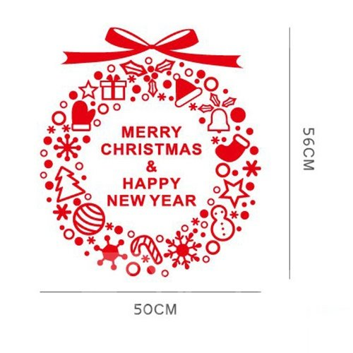 Christmas Decoration Letters and Garland Design Window Glass Removable Wall Sticker