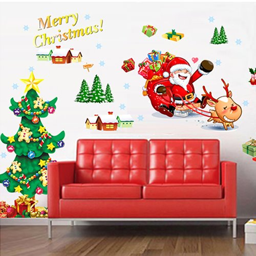 Christmas Decoration Santa and Christmas Tree Removable Wall Sticker