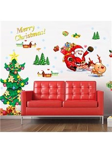 Christmas Decoration Santa and Christmas Tree Removable Wall Sticker