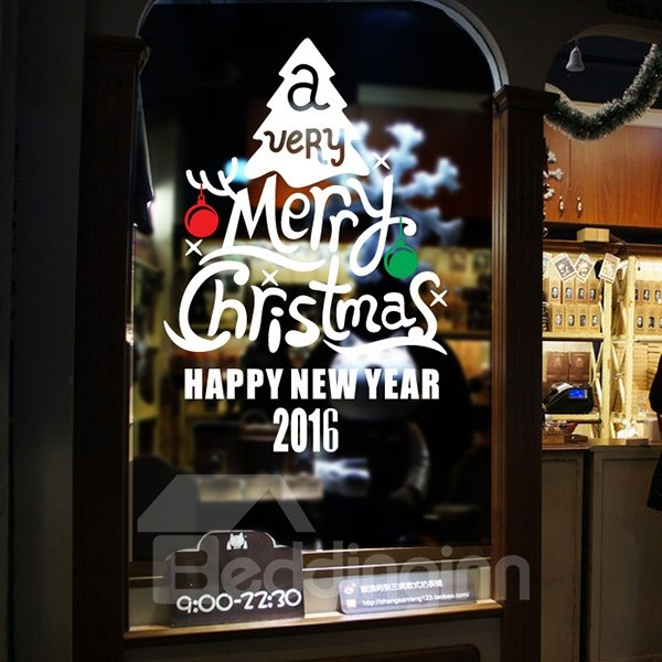 Festival Merry Christmas and Happy New Year Letters Window Decoration Removable Wall Sticker