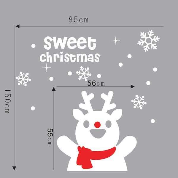 Festival Christmas Window Decoration Cute Snowman Removable Wall Sticker