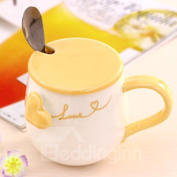 Wonderful Heart-Shape Relief Pattern Ceramic Coffee Mug