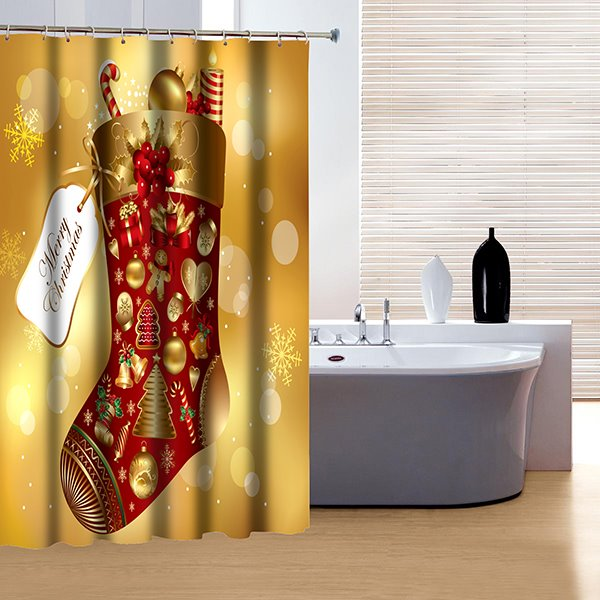 New Style Modern Christmas Santa Boot 3D Shower Curtain
