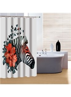 Innovative Design Red Rose and Zebra 3D Shower Curtain