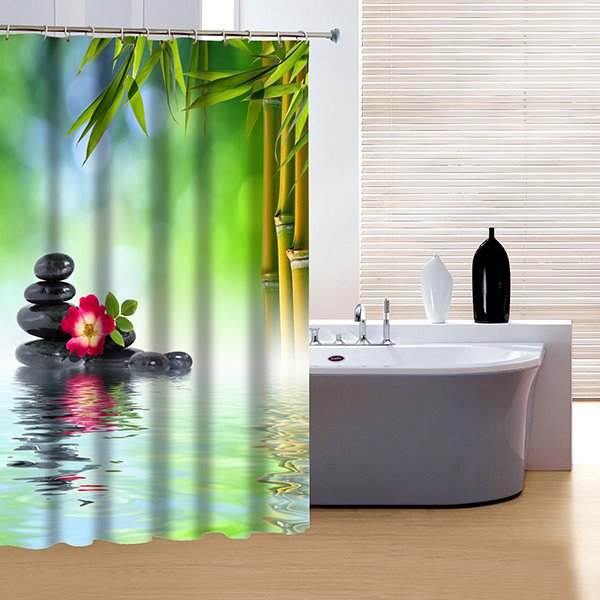 Chinoiserie Style Fresh Bamboo and Stone 3D Shower Curtain