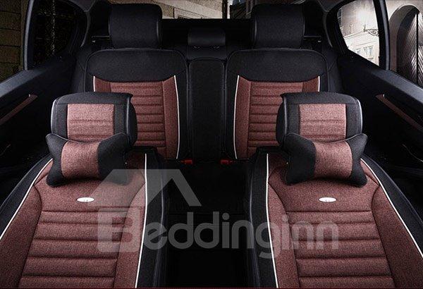 Premium Linen Leatherette Material Comfortable Dual Color Universal Car Seat Cover