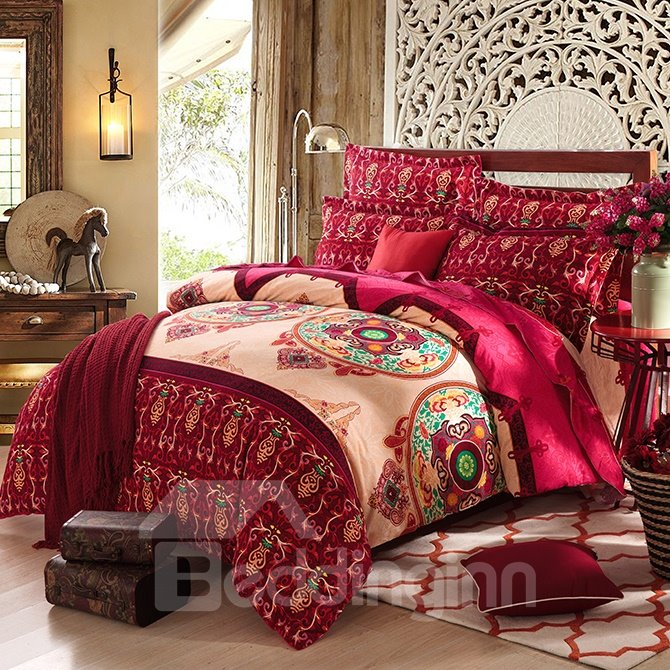 European Vintage Style Cotton 4-Piece Duvet Cover Sets