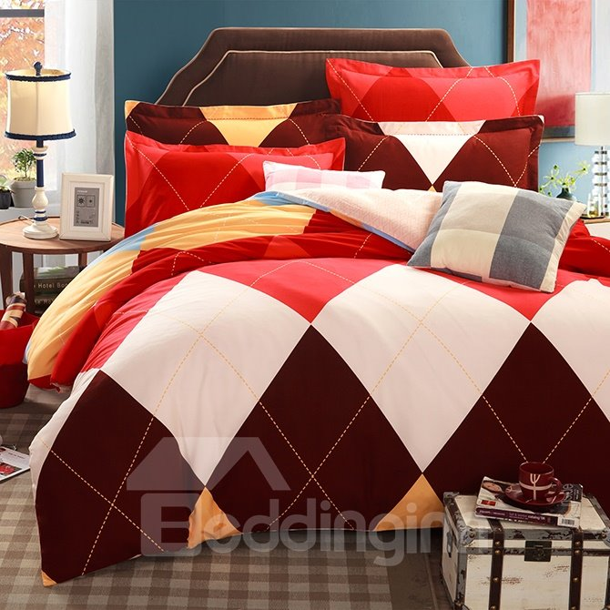 Skincare 100% Cotton Colorful Plaid 4-Piece Duvet Cover Sets