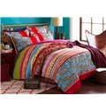 Colorful Stripes and Jacobean Pattern Boho Style Cotton 4-Piece Bedding Sets