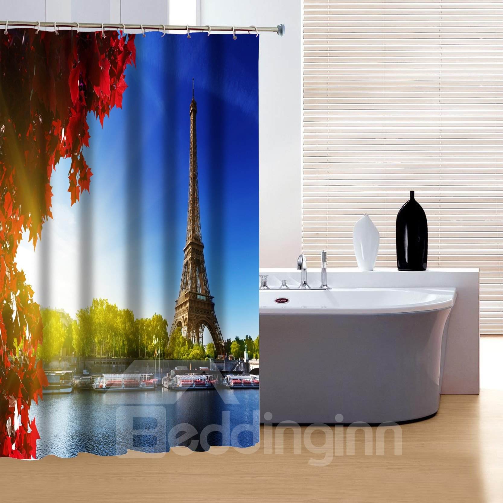 Charming Peaceful Eiffel Tower and Maple Leaves 3D Shower Curtain