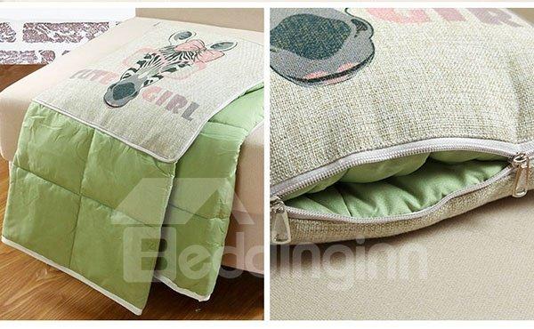 Comfortable Quillow Charming Zebra Lion Linen Blanket Car Pillow
