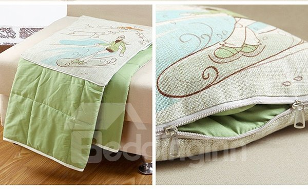 Comfortable Quillow Skiing Patterned Linen Blanket Car Pillow