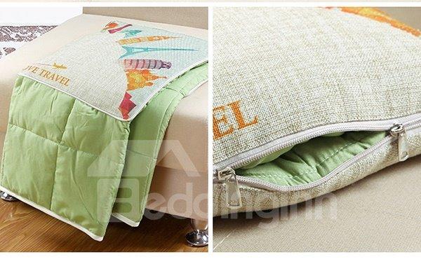 Comfortable Quillow World Travel Linen Blanket Car Pillow