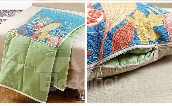 Comfortable Quillow Autumn Floral Linen Blanket Car Pillow