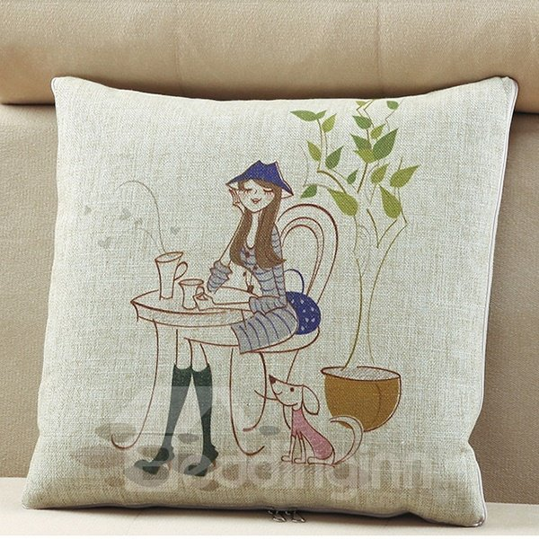 Comfortable Quillow Afternoon Tea Linen Blanket Car Pillow