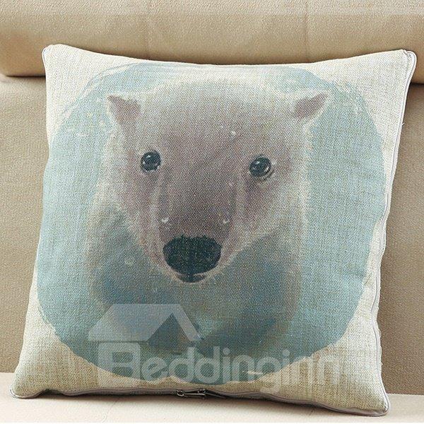 Comfortable Quillow Polar Bear Patterned Linen Blanket Car Pillow