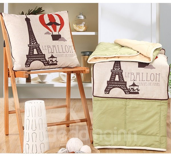 Comfortable Quillow Balloon Patterned Linen Blanket Car Pillow