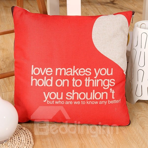 Convertable Quillow Red Heart Pattern Linen Blanket Car Pillow