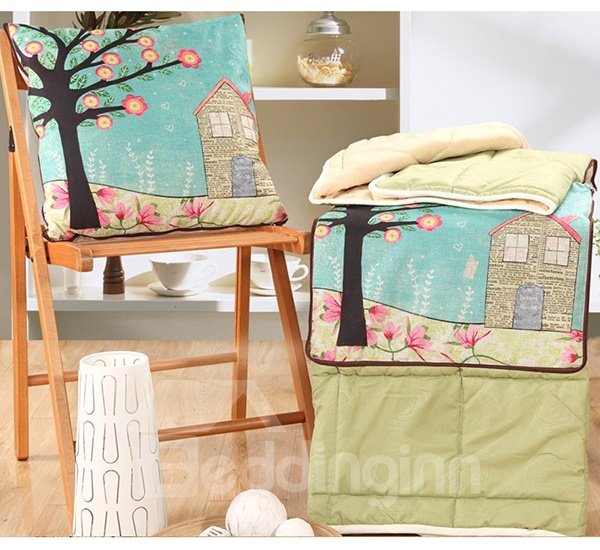 Convertable Quillow Fairy Tale House Patterned Linen Blanket Car Pillow