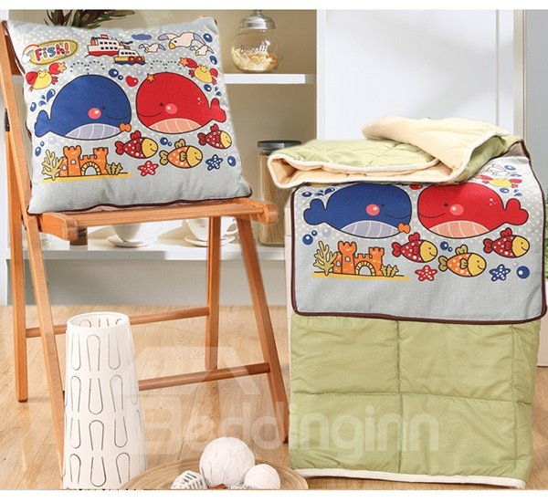 Convertable Quillow Cartoon Whale Patterned Linen Blanket Car Pillow