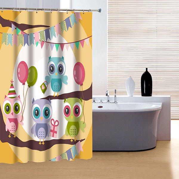 Vigorous Brisk Lovely Colorful Owl 3D Shower Curtain