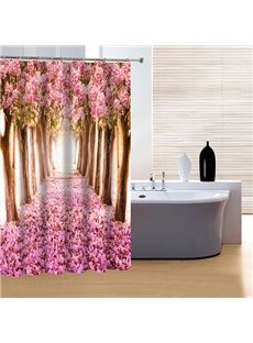 Glamerous Pink Flower Trail 3D Shower Curtain