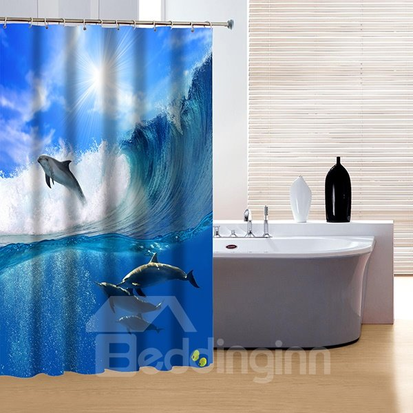 Stunning Bright Brisk Dolphin Playing 3D Shower Curtain