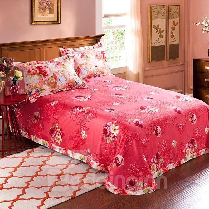 Peonies Print Bright Pink 4-Piece Cotton Duvet Cover Sets