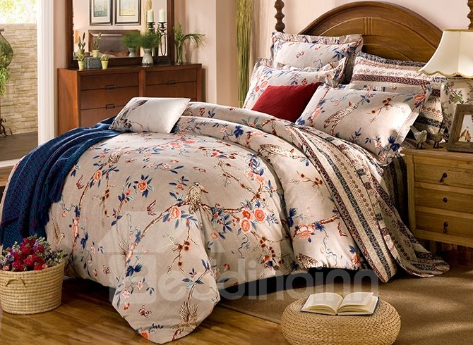 Birds on The Tree Printing Cotton 4-Piece Duvet Cover Sets