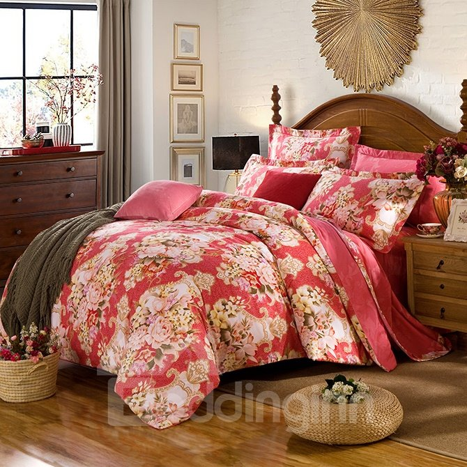 Bright Big Peonies Pattern Red 4-Piece Cotton Duvet Cover Sets