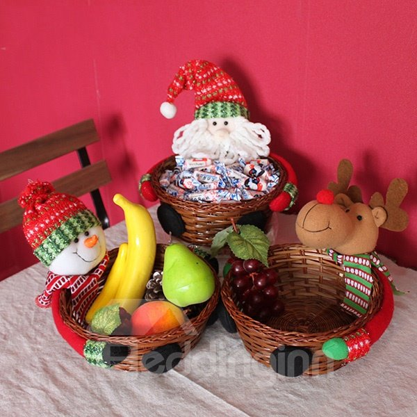 Creative Christmas Theme Candy and Fruit Baskets 1-Set Desktop Decoration