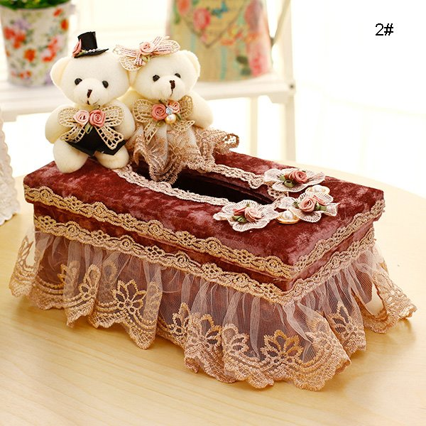 Wonderful Laced Fabric Bear Dolls Tissue Box Desktop Decoration