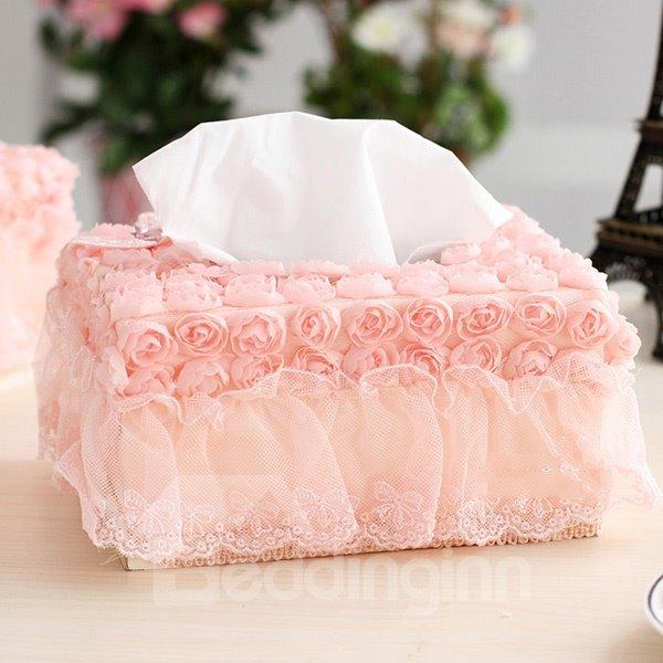 Romantic Roses and Lace Tissue Box Desktop Decoration