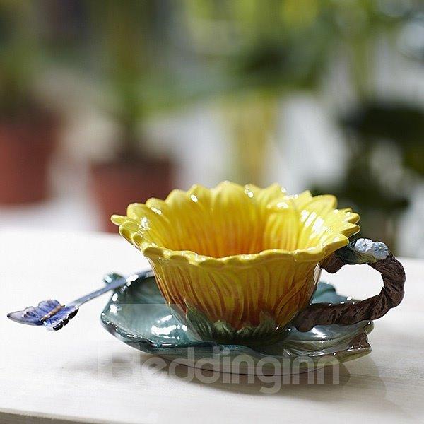 Gorgeous Sunflower Design Ceramic Coffee Cup