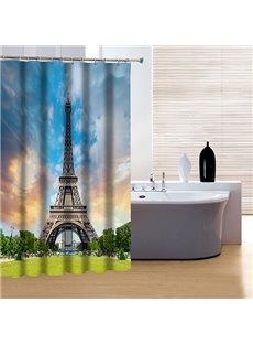 Modern Peaceful City Life and Eiffel Tower Print 3D Shower Curtain