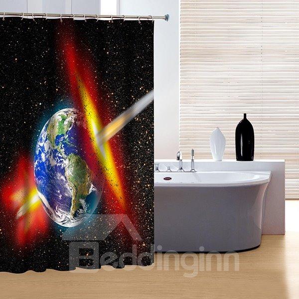 Unique Solar System Earth Print 3D Shower Curtain
