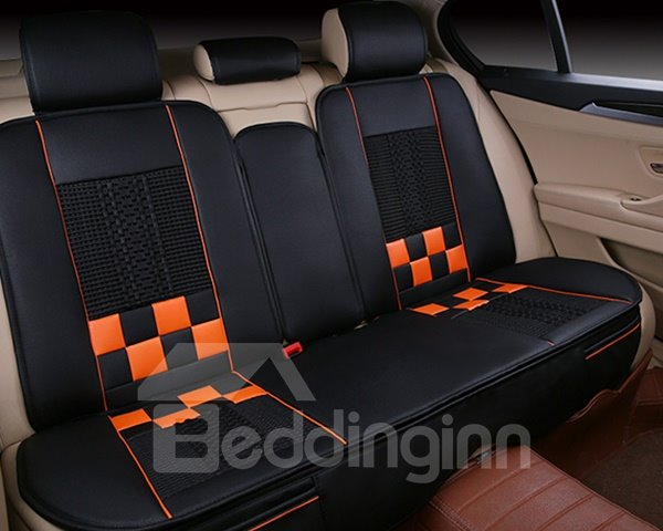 Sports Series Plaid Blocks Design Ventilating Universal Fit Car Seat Cover